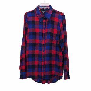 Lucky Brand Womens Button Up Shirt Blue Red Sz S